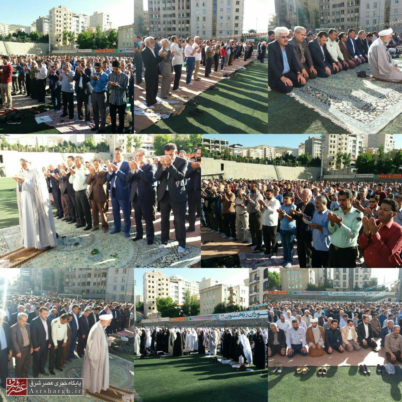 نماز باشکوه عید سعید فطر به امامت حجت الاسلام مدیح در زمین چمن شهدای رودهن