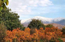 عکس  نخستین برف پاییزی از منظره روستای جابان دماوند