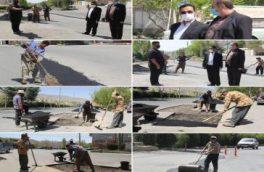 بازدید سرپرست شهرداری کیلان از اجرای عملیات لکهگیری آسفالت معابر اصلی شهر کیلان
