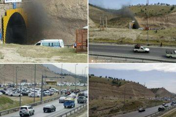 حریق یک دستگاه خودرو در تونل غرب به شرق آزادراه تهران – پردیس/ جاده مسدود شد+ تصاویر