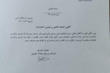 انتخابات شورای شهر رودهن بهطور رسمی باطل شد